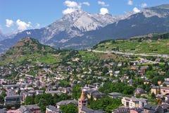 capital de ville de sion du canton du Valais Images libres de droits