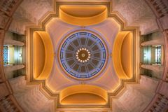 Capital Dome (Interior). Arkansas State Capital rotunda interior view of dome over head from ground floor Royalty Free Stock Photo