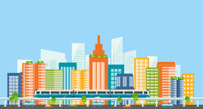 Capital.downtown.electric train. transportation. color full building Stock Images