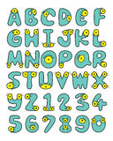 Capital Font Collection Of A Cute Little Green Monsters With Big Yellow Wiggle Eyes Stock Images