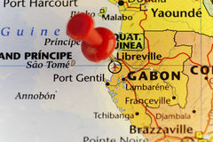 Capital of Gabon Libreville pinned map Stock Photo