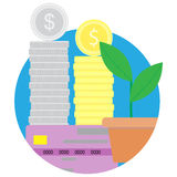 Capital gain flat icon vector. Financial growth and increase investment illustration Stock Photo