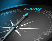 Capital Gains Concept. Financial consulting concept. Compass needle pointing the word gains over black background with blur effect Stock Photo