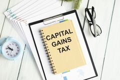 Capital gains tax-text label in the form of