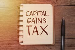Capital Gains Tax  text words typography written on book against wooden background  life and business motivational inspirational