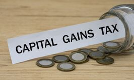 CAPITAL GAINS TAX - words on a white strip of paper with a can of money. Business and finance concept