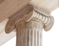 Capital of Greek neoclassical ionic column. Closeup of capital (volute and abacus) of a nineteenth century neoclassical ionic column located in the porch of the stock photography
