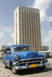 Capital Havana. An old blue car at beautiful Havana Royalty Free Stock Images