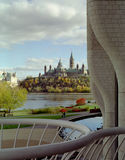 Capital Hill, Ottawa Ontario Canada. Autumn view of Ottawa Canada capital buildings from the entrance to the National Museum of Civilisation on the Quebec side stock photography