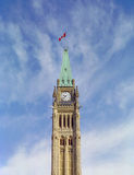 Capital Hill Ottawa Ontario Canada. Maple leaf flag flutters on top of the clock tower on Canada's parliament buildings Stock Photo