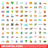 100 capital icons set, cartoon style. 100 capital icons set in cartoon style for any design vector illustration Royalty Free Stock Image