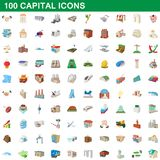 100 capital icons set, cartoon style. 100 capital icons set in cartoon style for any design illustration vector illustration