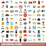 100 capital icons set, flat style. 100 capital icons set in flat style for any design vector illustration Royalty Free Stock Photo