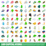 100 capital icons set, isometric 3d style. 100 capital icons set in isometric 3d style for any design vector illustration Stock Photos