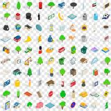 100 capital icons set, isometric 3d style Stock Image
