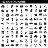 100 capital icons set, simple style. 100 capital icons set in simple style for any design vector illustration Royalty Free Stock Photo