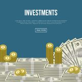 Capital investment flyers with paper banknotes. And golden coins. Guarantee of security financial savings and money turnover, banking services and online money Royalty Free Stock Image