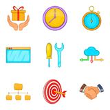 Capital investment icons set, cartoon style. Capital investment icons set. Cartoon set of 9 capital investment vector icons for web isolated on white background Stock Photography