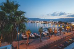 The capital of the island of Kos, Greece, view of the city and m. Arina at sunset, a popular destination for travel in Europe stock photos