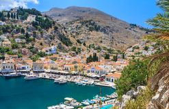 The capital of the island of Symi - Ano Sym Stock Image