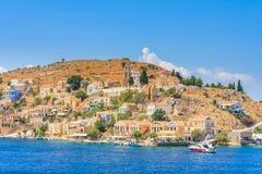 The capital of the island of Symi - Ano Symi. Harani area Royalty Free Stock Image