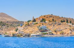 The capital of the island of Symi - Ano Symi. Harani area Royalty Free Stock Images