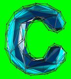 Capital latin letter C in low poly style blue color isolated on green background. 3d rendering Stock Illustration