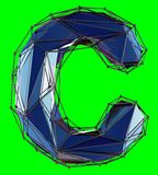 Capital latin letter C in low poly style blue color isolated on green background. 3d rendering vector illustration