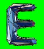 Capital latin letter E in low poly style blue color isolated on green background. 3d rendering royalty free illustration
