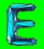 Capital latin letter E in low poly style blue color isolated on green background. 3d rendering Vector Illustration