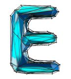 Capital latin letter E in low poly style blue color isolated on white background. 3d rendering stock illustration