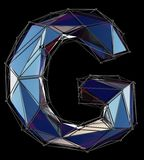 Capital latin letter G in low poly style blue color isolated on black background. 3d rendering vector illustration