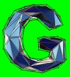 Capital latin letter G in low poly style blue color isolated on green background. 3d rendering royalty free illustration