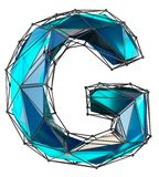 Capital latin letter G in low poly style blue color isolated on white background. 3d rendering stock illustration