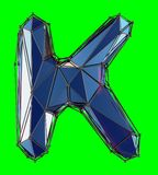 Capital latin letter K in low poly style blue color isolated on green background. 3d rendering stock illustration