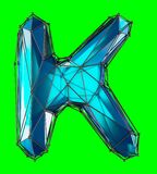 Capital latin letter K in low poly style blue color isolated on green background. 3d rendering Vector Illustration