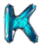 Capital latin letter K in low poly style blue color isolated on white background. 3d rendering vector illustration