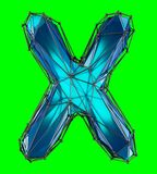 Capital latin letter X in low poly style blue color isolated on green background. 3d rendering Stock Illustration