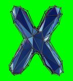 Capital latin letter X in low poly style blue color isolated on green background. 3d rendering royalty free illustration
