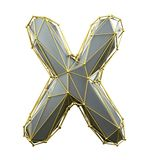 Capital latin letter X in low poly style silver and gold color isolated on white background. 3d stock illustration
