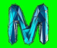 Capital latin letter M in low poly style blue color isolated on green background. 3d rendering Royalty Free Illustration