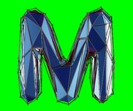 Capital latin letter M in low poly style blue color isolated on green background. 3d rendering stock illustration