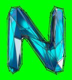 Capital latin letter N in low poly style blue color isolated on green background. 3d rendering Royalty Free Illustration