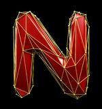 Capital latin letter N in low poly style red and gold color isolated on black background. 3d royalty free illustration