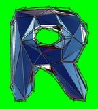 Capital latin letter R in low poly style blue color isolated on green background. 3d rendering vector illustration