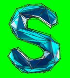 Capital latin letter S in low poly style blue color isolated on green background. 3d rendering Vector Illustration