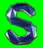 Capital latin letter S in low poly style blue color isolated on green background. 3d rendering royalty free illustration