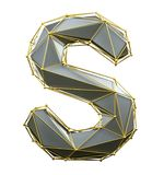 Capital latin letter S in low poly style silver and gold color isolated on white background. 3d royalty free illustration