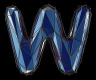 Capital latin letter W in low poly style blue color isolated on black background. 3d rendering vector illustration