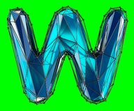 Capital latin letter W in low poly style blue color isolated on green background. 3d rendering Vector Illustration